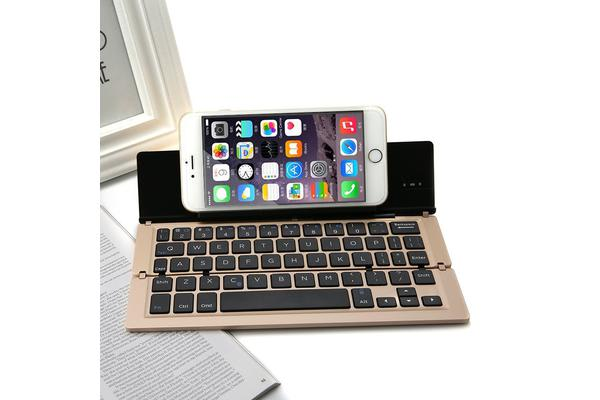 Bluetooth V3.0 Keyboard Aluminum Alloy Foldable Iphone Android Tablet Pc - Gold
