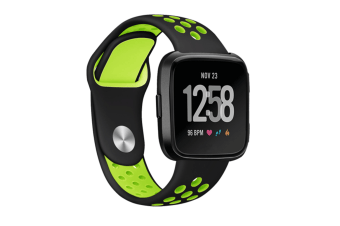 Fitbit Versa Bands Sport Silicone Breathable Strap Replacement Black&Green