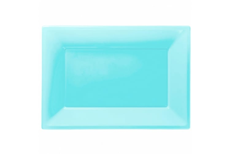 Amscan Plastic Rectangular Party Platters (Pack Of 3) (Pastel Blue) (One Size)