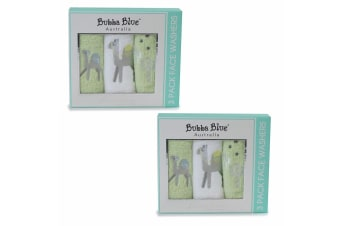 6pc Bubba Blue Sahara Face Cotton Wipe/Wash Cloth Washers Baby/Infant GY/WHT 0m+