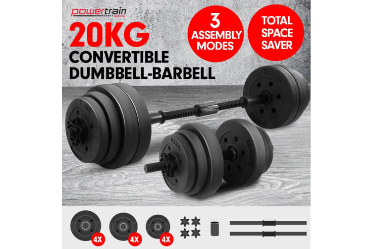 Powertrain 20kg Home Gym Dumbbell Set Exercise Weights