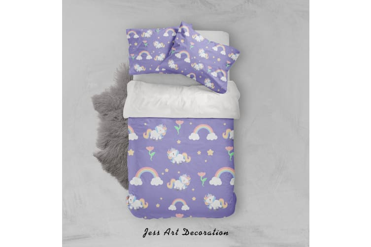 3D Purple Unicorn Rainbow Floral Star Quilt Cover Set Bedding Set Pillowcases 16-Double