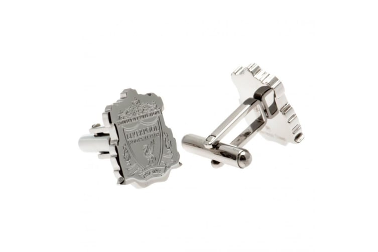 Liverpool FC Stainless Steel Crest Cufflinks (Silver) (One size)
