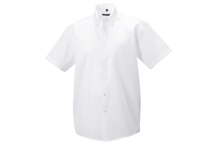 Russell Collection Mens Short Sleeve Ultimate Non-Iron Shirt (White) (15.5inch)