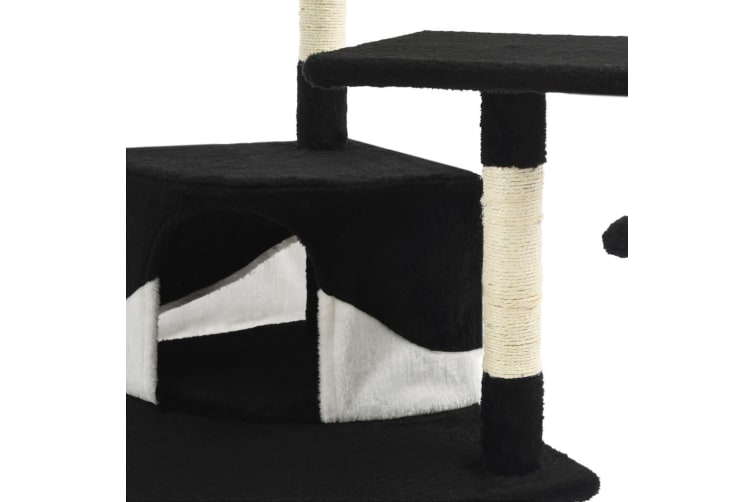 vidaXL Cat Tree with Sisal Scratching Posts 203 cm Black and White