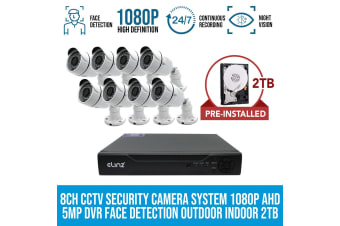 Elinz 8CH CCTV Security System 8x Cameras 1080P 2TB Face Detection DVR 5MP