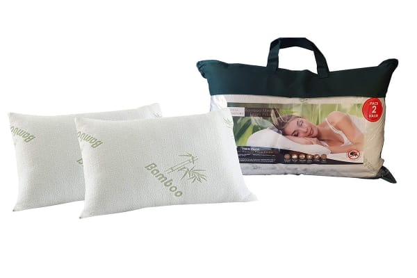 Royal Comfort Set of 2 Bamboo Covered Memory Foam Pillow