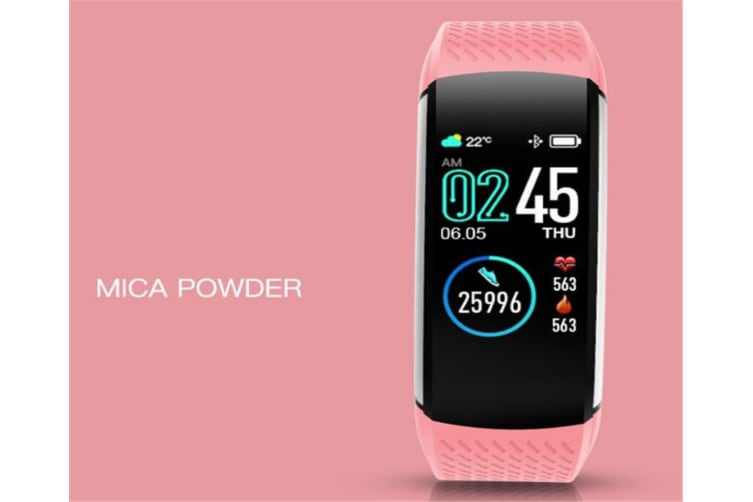 WJS 1.08inch Color Screen Blood Pressure Heart Rate Monitor Sport Bluetooth Smart Wristband Watch-PINK