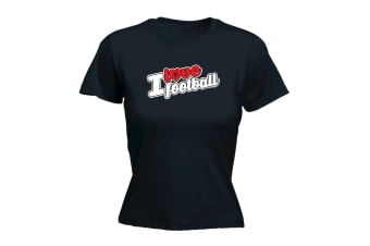 123T Funny Tee - I Love Football Stencil - (XX-Large Black Womens T Shirt)