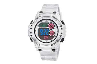 Men'S Watch Fashion Waterproof Multifunctional Student Electronic Watch White