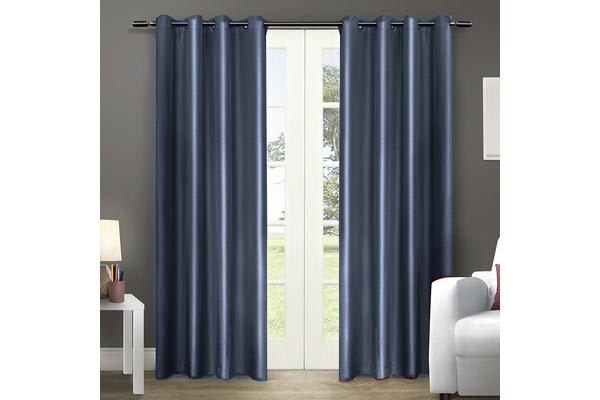 1 Pair Blockout Curtains Panels Bluish Grey 180x213cm