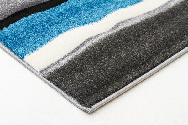 Stunning Thick Wave Rug Blue Grey 400x80cm