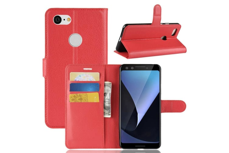 For Google Pixel 3 Leather Wallet Case Red Lychee Texture Cover Card Slots Stand