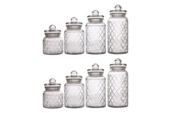 8pc Casa Domani Trellis Glass Storage Food Container Holder Jars Lid 0.65-1.5L