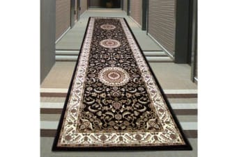 Medallion Runner Black with Ivory Border 300x80cm