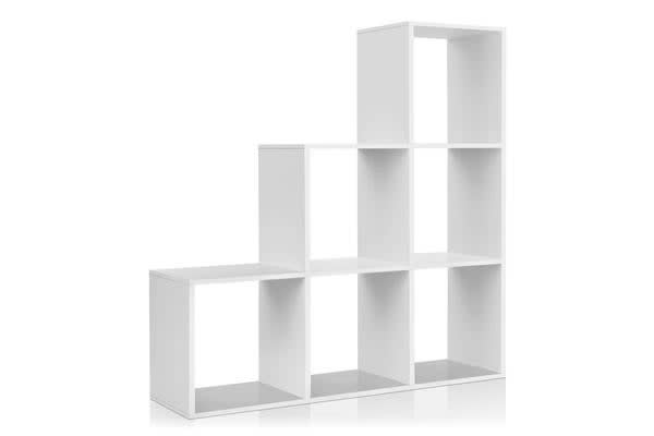 Artiss 6 Cube Staircase Display Shelf (White)
