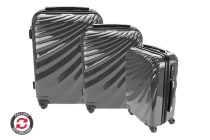 Refurbished Orbis 3 Piece Deluxe UltraTough Spinner Luggage Set (Charcoal Grey)