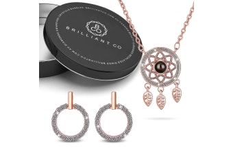 Boxed Rose Gold Plated Necklace and Earrings Set
