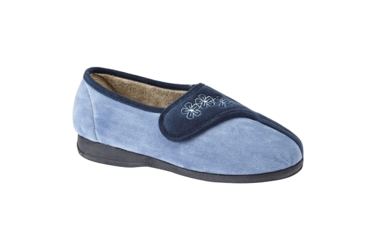 Sleepers Womens/Ladies Gemma Touch Fastening Embroidered Slippers (Navy/Blue) (4 UK)
