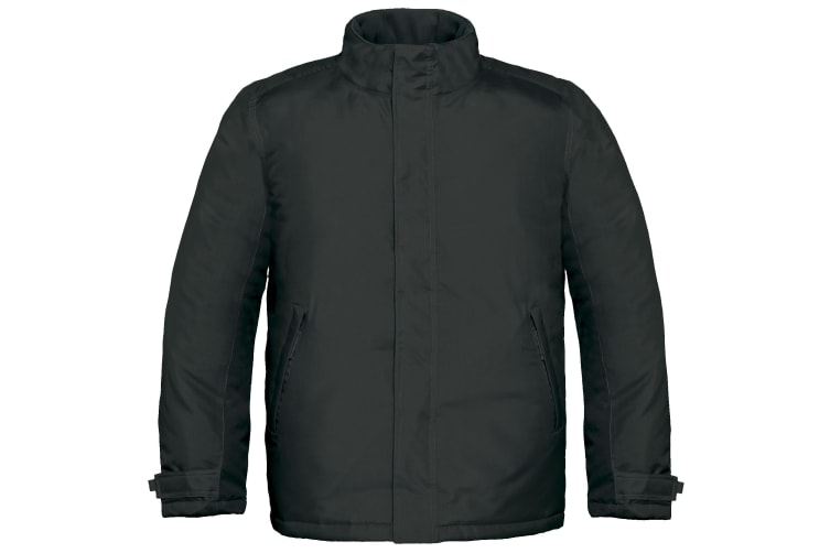 B&C Mens Real+ Premium Windproof Thermo-Isolated Jacket (Waterproof PU Coating) (Black) (S)
