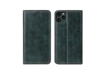 For iPhone 11 Pro Case PU Leather Flip Wallet Protective Cover Kickstand Green