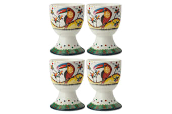 4pc Maxwell & Williams Smile Style Egg Cup Holder Hard Boiled Stand Set Tango