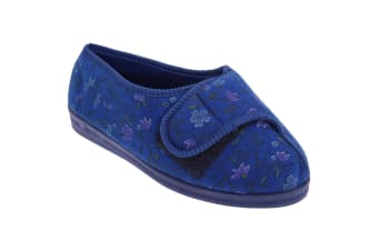 Comfylux Womens/Ladies Davina Floral Superwide Slippers (Navy Blue)