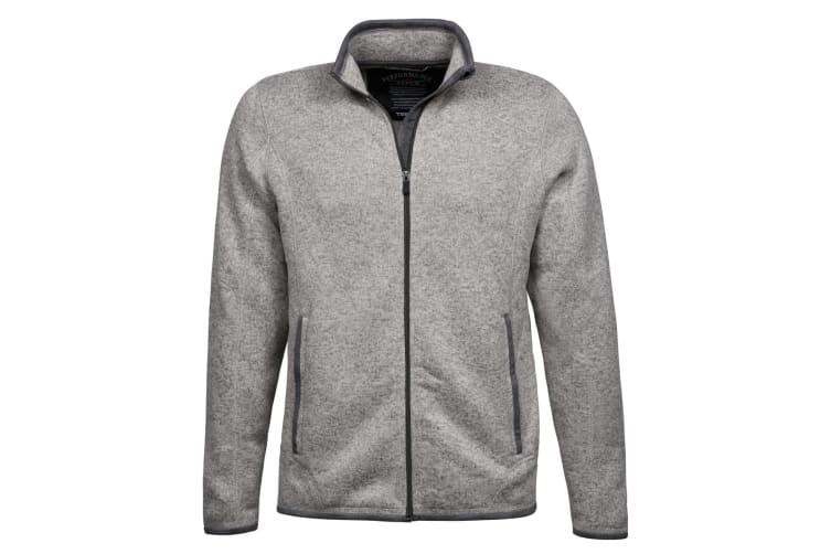 Tee Jays Mens Aspen Full Zip Jacket (Grey Melange) (L)