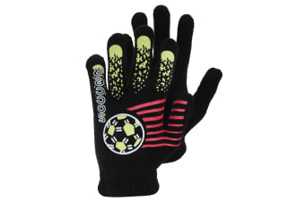 Boys Black Winter Magic Gloves With Rubber Print (Design 4) (One Size)
