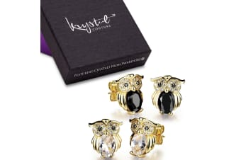 Boxed 2 Pieces Pairsof Owl Earrings Set