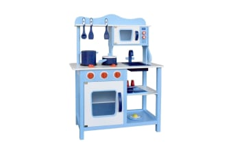 Children Wooden Kitchen Play Set (Blue)