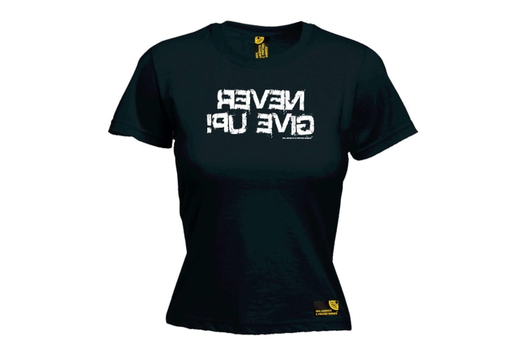 SWPS Gym Bodybuilding Tee - Never Give Up - (X-Large Black Womens T Shirt)