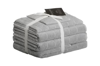 Sheraton Subway Textured 5 Piece Towel Set (Silver Grey)