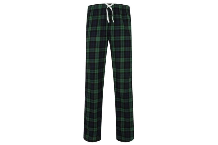 Skinnifit Mens Tartan Lounge Pants (Navy/Green Check) (L)