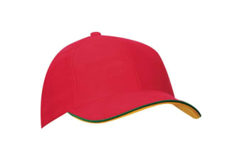 Myrtle Beach Adults Unisex 6 Panel Double Sandwich Cap (Red/Green/Gold Yellow)