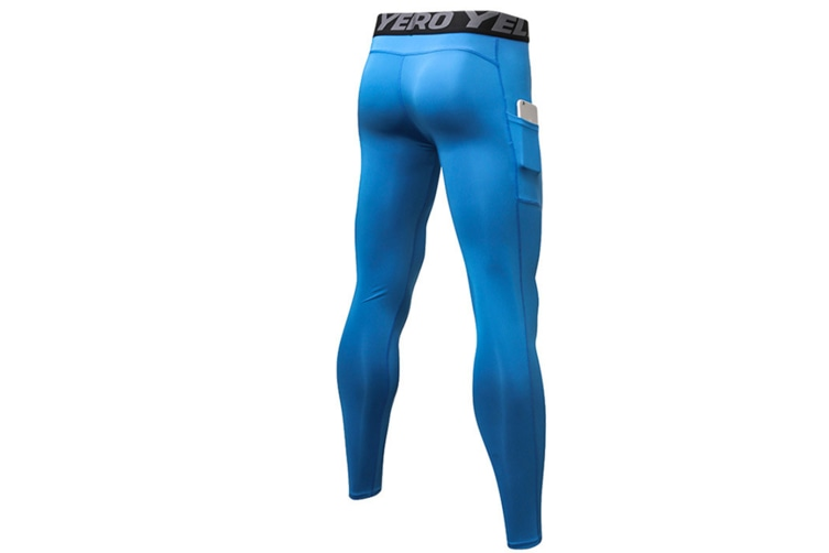 Men'S Compression Base Layer Tights Pants Fitness Running Blue S