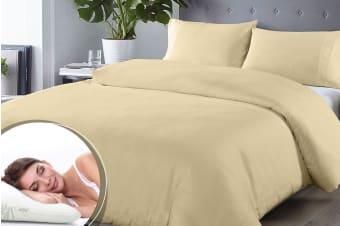 Royal Comfort Blended Bamboo Quilt Cover Set + Bamboo Pillow Twin Pack (Double, Dark Ivory)