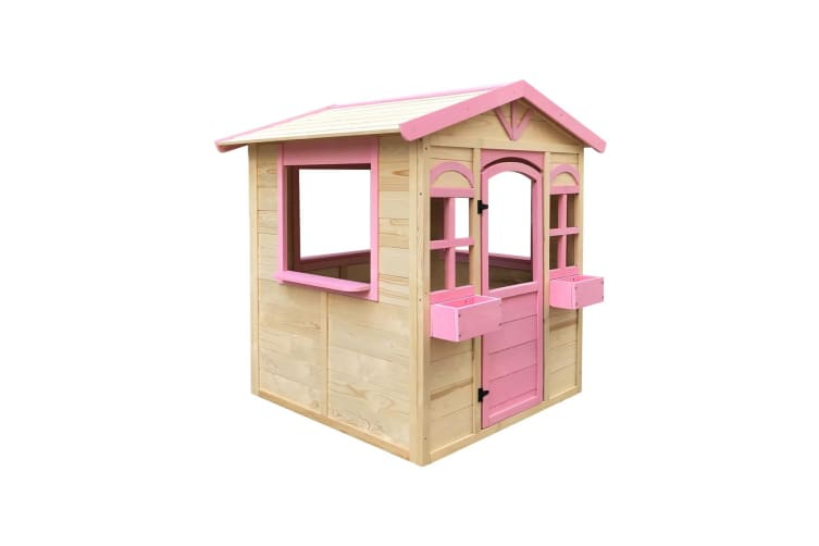 Outdoor Kids Cubby House Wooden Playhouse Pink