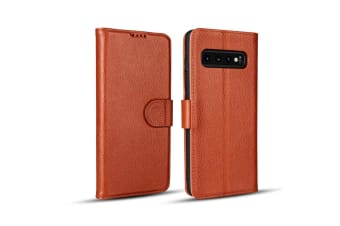 For Samsung Galaxy S10e Case  Brown Fashion Cowhide Genuine Leather Wallet Cover