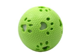 Select Mall 2PCS Creative Pet Toy Footprints Glow Ball Vocal Ball 7.5cm Bite Resistant Natural Rubber Toy Suitable for Puppy Kitten-Green