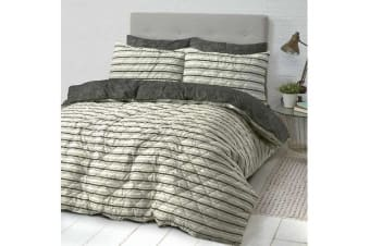 Park Avenue Microfiber Pinsonic Quilted Quilt cover set Super King Industrial Stripes - Reversible