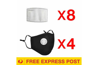 Black Washable Reusable Anti Air Pollution Face Mask With Respirator &2 Filters-4 Packs