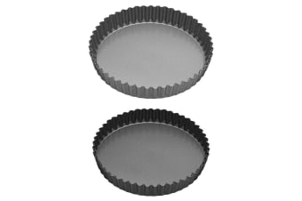 2pc Mastercraft 25cm 30cm Non-Stick Bakeware Pan Quiche Flan Pie Removable Base