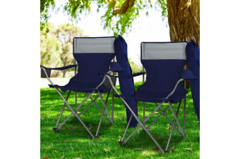 Weisshorn 2 x Folding Camping Arm Chairs Portable Outdoor Garden Fishing Navy
