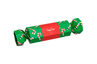 Happy Socks Christmas Cracker Candy Cane Gift Box (Red/White, Size 36-40)