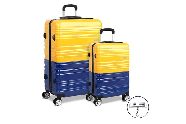 2 Piece Lightweight Hard Suit Case with Hand Scale (Yellow/Purple)
