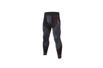 Men'S Compression Pants Workout Running Tights Leggings - Black Grey+Red Red XXL