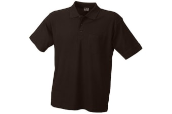 James and Nicholson Unisex Polo Pique Pocket Top (Brown) (S)