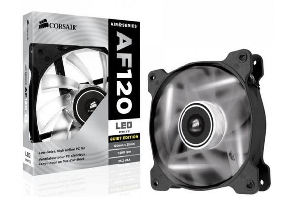 Corsair Air Flow 120mm Fan Quiet Edition / White LED. 3 PIN - Superior cooling performance and LED illumination