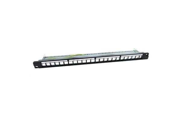 DYNAMIX 19  24 Port 0.65U Unloaded  Keystone Patch Panel w/ Cable Support bar